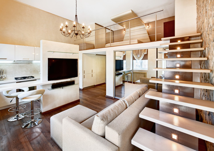 Modern minimalism style two-high drawing-room interior with staircase in beige tones; Shutterstock ID 155513708; PO: license(23147)